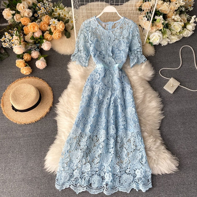 Woman A-Line Dress O-Neck Femininity Lace Hollow Out Dress Trend 2020 Short Sleeve Slim Long Dresses