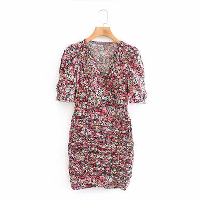 KUMSVAG 2020 Summer Women Sexy Pencil Dress Short Sleeve V-Neck Floral Print Pleated Mini Dresses Female Elegant Casual Dress