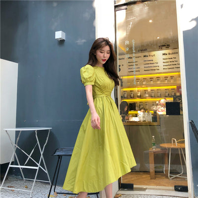 SHENGPALAE 2020 New Summer Women Vintage Loose High Waist Slim Was Thin Elegant Solid Color Bow Big Swing Maxi Dress ZA4389