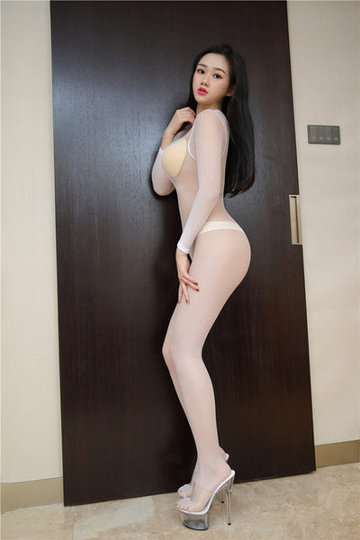 Bodystocking Full Body sheer shiny pantyhose sexy open crotch high elastic