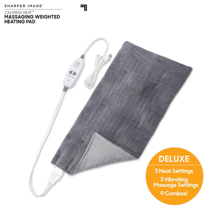 Calming Heat™  By Sharper Image® 6 Setting Weighted Massaging Heating Pad