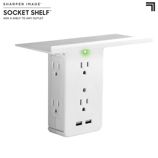Socket Shelf® By Sharper Image® - Add A Shelf & 8-Port Surge Protector To Any Outlet