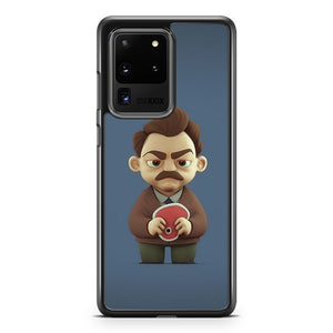 3D Version Of Ron Swanson Parks And Recreation Samsung Galaxy S20 Ultra Phone Case Cover