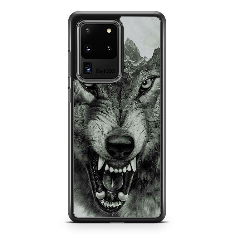 Growling Mountain Wolf Samsung Galaxy S20 Ultra Phone Case Cover