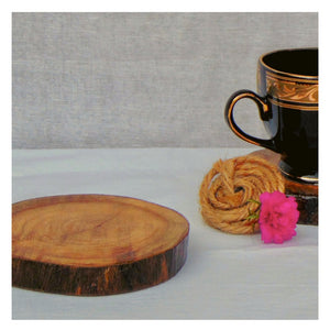 Rustic Wooden Coasters- Pack of 4- Natural Wood colour