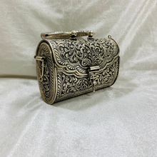 Load image into Gallery viewer, Noire- Vintage Silver Clutch Bag
