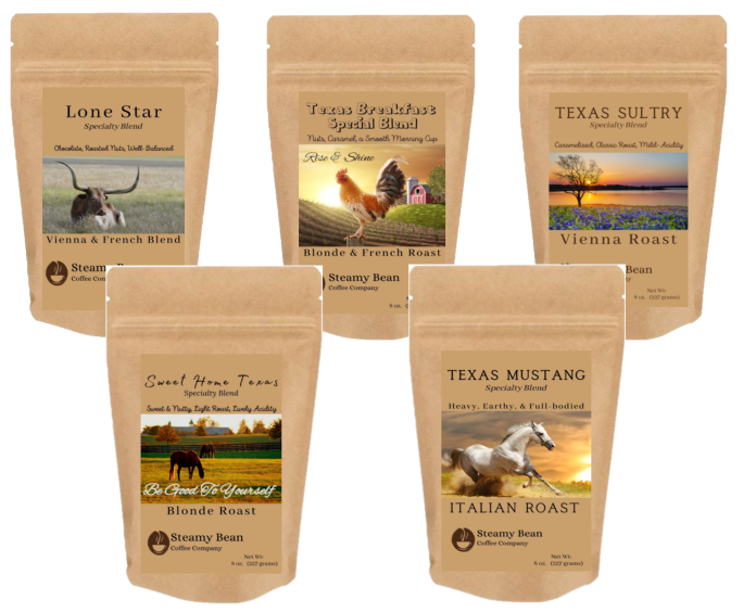 4 oz brown colored kraft coffee bags with labels showing samples of lonestar, texas breakfast blend, texas sultry, sweet home texas, texas mustang