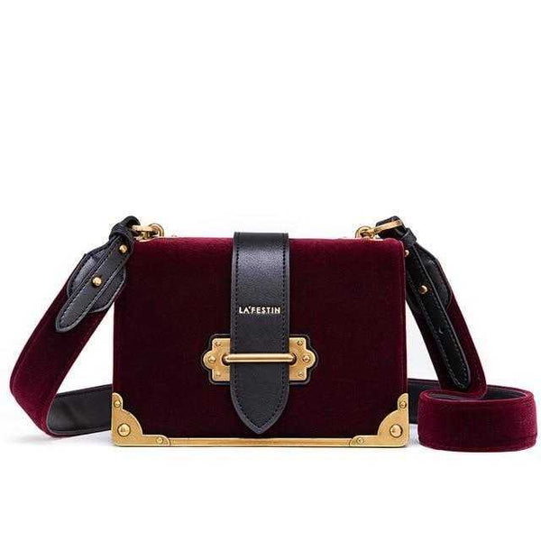 Women's Velvet & Black Shoulder Bag - SPW Mart