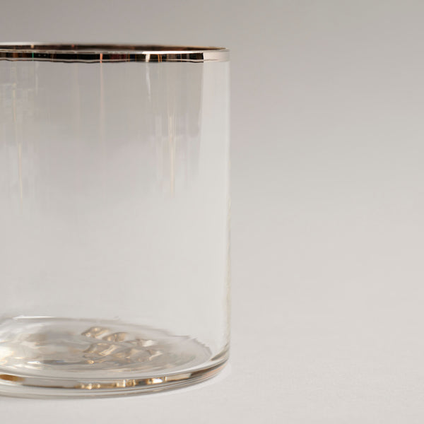 Silver Rimmed Whiskey Glass
