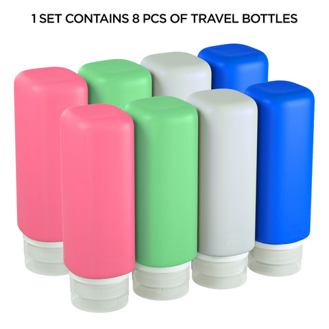 8 pc Leak Proof Silicone Travel Bottle Set