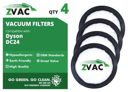 ZVac 4 Package of Dyson Pre Filters Fits All DC-24 / DC24 Including All-Floors, Multi-Floor, Red, Animal, Animal Ultra; Washable & Reusable Replaces Dyson Part # 913788-01 Only from Go Vacuum