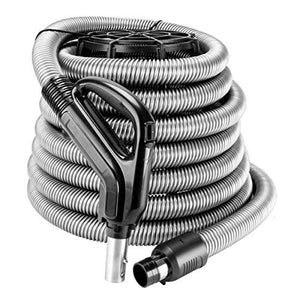 ZVac Universal Central Vacuum Hose - 30FT Direct Connect Low Voltage Electric Hose with On/Off Button - Ergonomic Swivel Handle - Compatible with Beam, Nutone, Electrolux, Hayden & More - Silver
