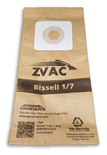 ZVac 15Pk Compatible Vacuum Bags Replacement for Bissell Style 1 and 7 Upright Vacuum Bags. Replaces Parts#30861, 3086, 32120, 32071 Fits: 3522 Series, 3545, 3550 Series, 3554 Series and Samsung 5000 : ZVac