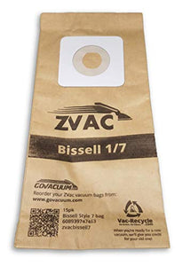 ZVac 15Pk Compatible Vacuum Bags Replacement for Bissell Style 1 and 7 Upright Vacuum Bags. Replaces Parts#30861, 3086, 32120, 32071 Fits: 3522 Series, 3545, 3550 Series, 3554 Series and Samsung 5000