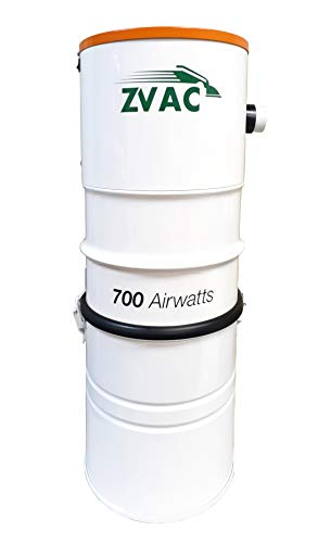 ZVac Central Vacuum System with 700 Air watts 26.5 L Tank Capacity Power Unit Vac - Powerful Quiet 2-Fan Motor for 10,000 Sq. Foot Homes Model ZCVS-1 Central Vac Bagged/Bagless Cleaner - White