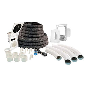 Hide-A-Hose ZVac Central Vacuum Hose System Installation Kit with 50' ft Retractable Central Vacuum Hose with Couplings, Elbows, Inlet Valve : ZVac