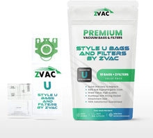 Load image into Gallery viewer, 10 ZVac Miele Type U Vacuum Cleaner Replacement Bags with 1 Motor Filter & 1 Air Clean Filter : ZVac