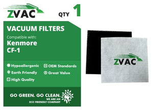 ZVac Kenmore CF1 Sears Progressive Allergen Foam Filters; Fits Kenmore Progressive & Whispertone; Replaces Kenmore Part # CF1, CF-1, 20-86883, 86883, 2086883