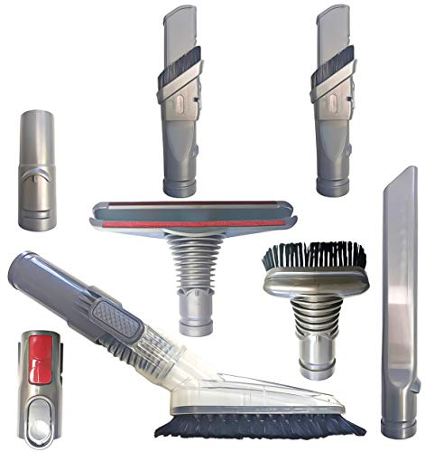 ZVac Dyson Vacuum Attachments Tool Kit Replacements Crevice Tool, Floor & Hair Brush & More for Dyson V8 Absolute,V8 Animal, V10 Absolute,V7 Motorhead,V6, DC58,DC59 Absolute Cordless Stick Vacuum