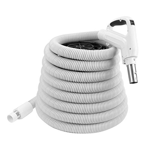 ZVac Universal Central Vacuum Hose - 30FT Direct Connect Low Voltage Electric Hose with On/Off Button - Ergonomic Gas Pump Swivel Handle - Compatible with Beam, Nutone, Electrolux, Hayden & More