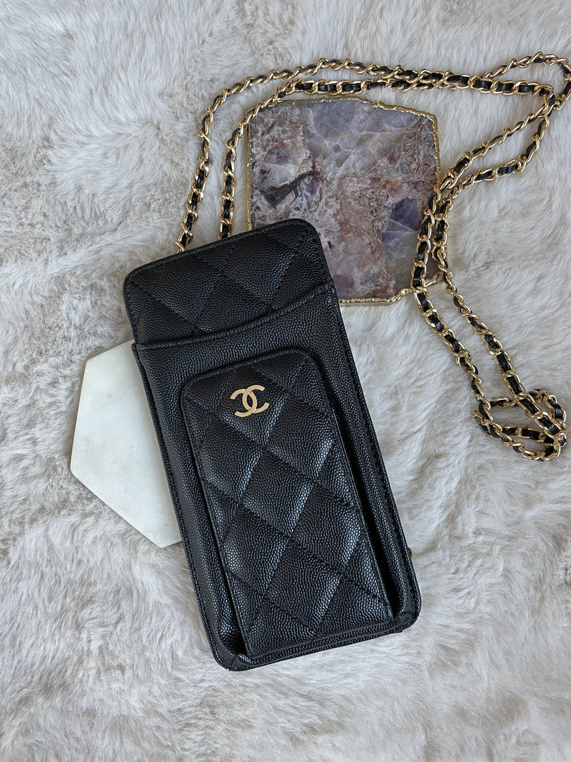 VINTAGE CARD & PHONE HOLDER WITH CHAIN (BLACK)