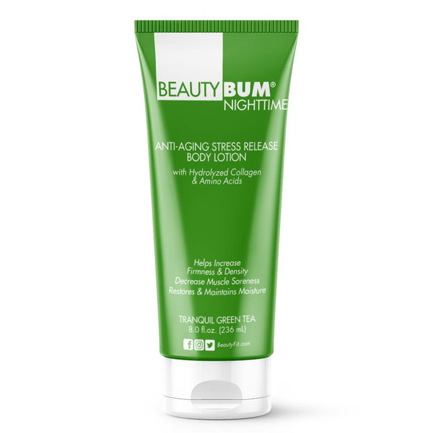 Tube of Beauty-Bum® Nighttime Anti-Aging Stress Release Body Lotion improves the softness and feel of the skin (236ml)