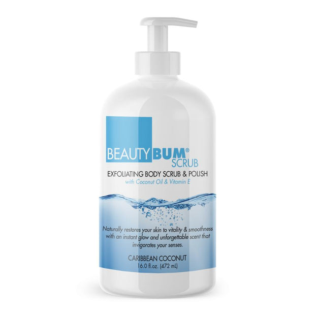 Pump of  Beauty-Bum® Scrub Exfoliating Body Scrub Lotion & Polish Leaves Skin With An Instant Glow (472ml)  Caribbean Coconut