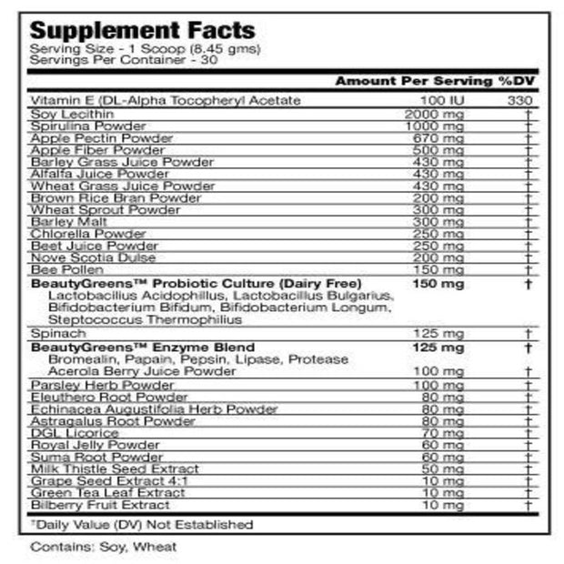 Supplement Facts of Beauty-Greens® Superfoods for Women (253.5grams)