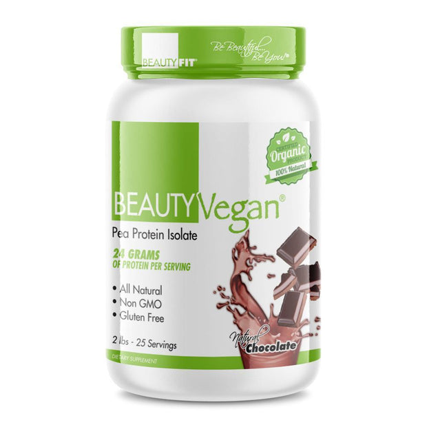 Tube of Beauty-Vegan® Pea Protein Isolate Plant Based Organic for Women (2lbs 25 Serving) Chocolate and free shaker