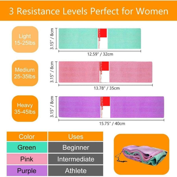 sizes of Exercise resistance bands Beautyfit® Australia