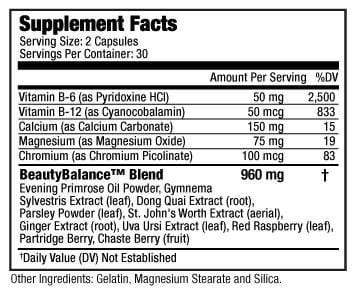 Supplement Facts of Beauty-Balance® Helps Reduce PMS Symptoms supports Hormonal Balance & Weight Loss for woman