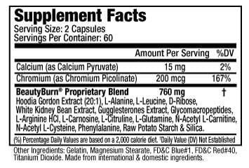 Supplements Facts of Beauty-Burn® PM Controls Blood Sugar, Suppresses Night Time Hunger (120capsules)