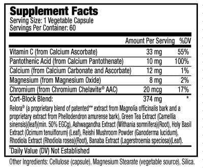 Supplement Facts of  Beauty-Calm® Women Health Anti Stress Formula (60 veg capsules)
