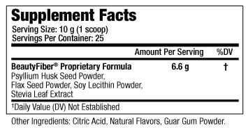 Supplement facts of Beauty-Fiber® Colon Cleanse for Women (250grams)