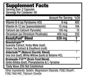 Supplement facts of Beauty-Fuel® Rapid Weight Loss pills for Women (120capsules)