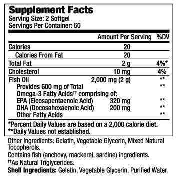 Supplement Facts of Beauty Omega 3 Vitamin for Women (120softgels)