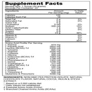 Supplement facts of Beauty-Vegan® Pea Protein Isolate for Women (2lbs)