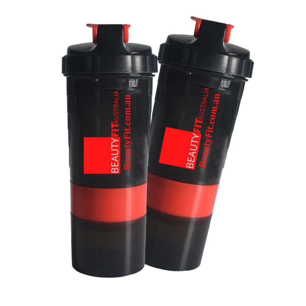 BeautyFit® Black/Red Gym Bottle Shaker