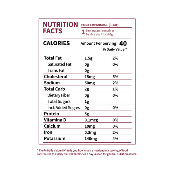 Nutrition Facts Pork Empanadas