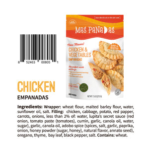 FROZEN CHICKEN AND VEGETABLES MINI EMPANADAS - 8 PCS - 7 OZ