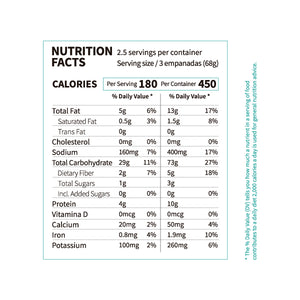 NUTRITION FACTS FROZEN VEGGIE MINI EMPANADAS