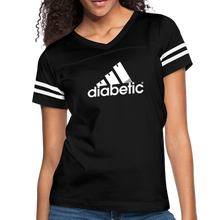 Load image into Gallery viewer, Diabetic + Strips - Women's Vintage Sport T-Shirt - black/white