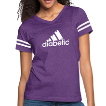Load image into Gallery viewer, Diabetic + Strips - Women's Vintage Sport T-Shirt - vintage purple/white