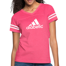 Load image into Gallery viewer, Diabetic + Strips - Women's Vintage Sport T-Shirt - vintage pink/white