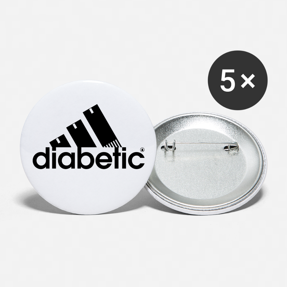 Diabetic + Strips - Buttons large 2.2'' (5-pack) - white