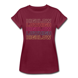 HIGH LOW - Women's Relaxed Fit T-Shirt - burgundy