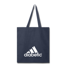 Load image into Gallery viewer, Diabetic + Strips - Tote Bag - navy