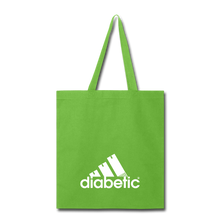 Load image into Gallery viewer, Diabetic + Strips - Tote Bag - lime green