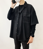 Load image into Gallery viewer, Contrast Stitch Revere Black Shirt