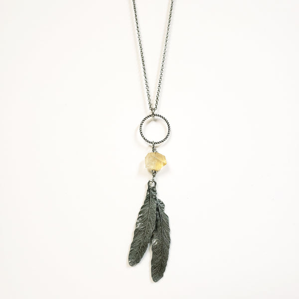 Citrine Feather Necklace